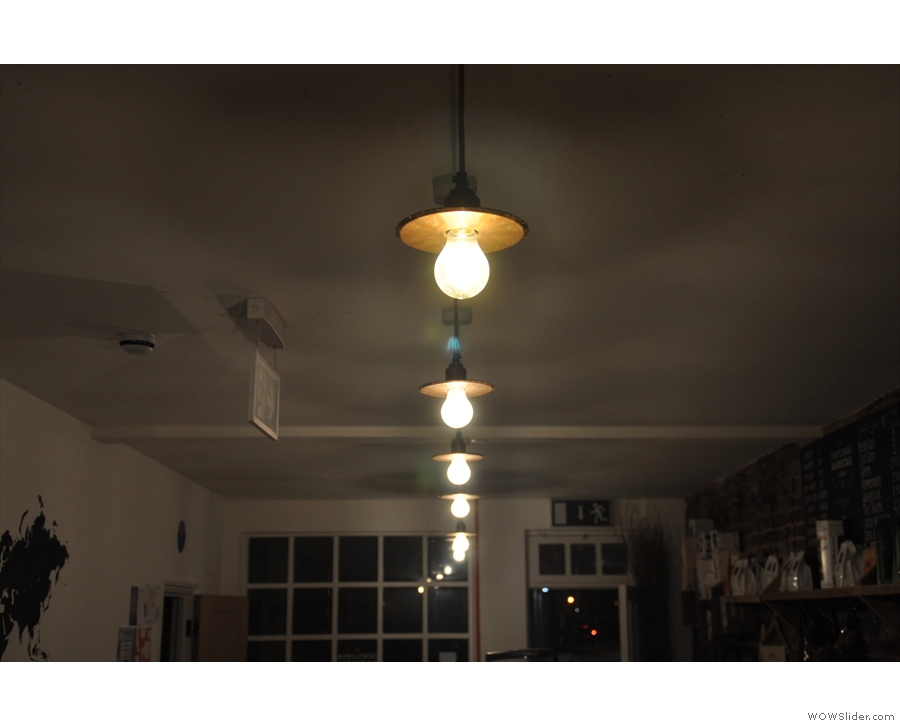 Unsurprisingly there are lots of lights, particularly downstairs. These hang over the counter.