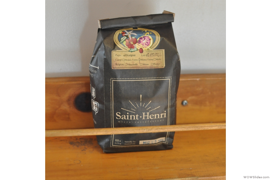 A solitary bag of coffee from local roasters, Saint Henri. Like most places I visited in Montréal, you can buy the coffee beans as well.
