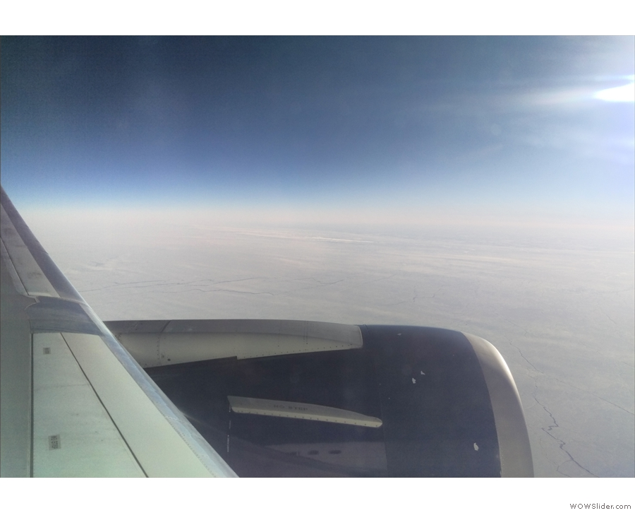 The seat next to me was empty, so I got some great views: here, the frozen Hudson Bay...