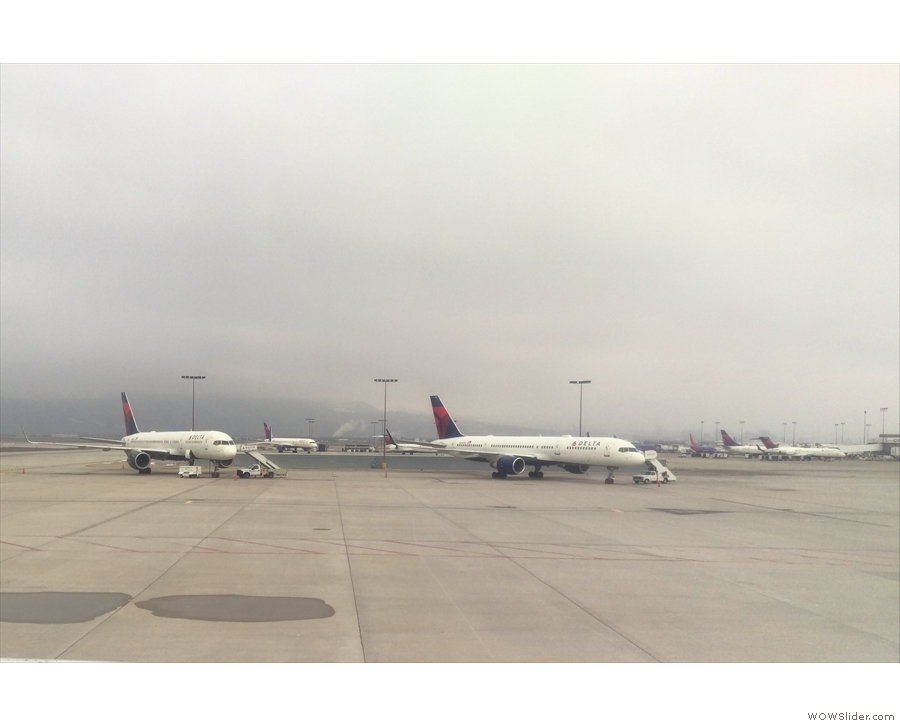 On the ground at Salt Lake City. I'm sure there are some mountains out there somewhere!