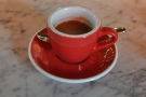 My (single-origin) espresso in a classic red cup...