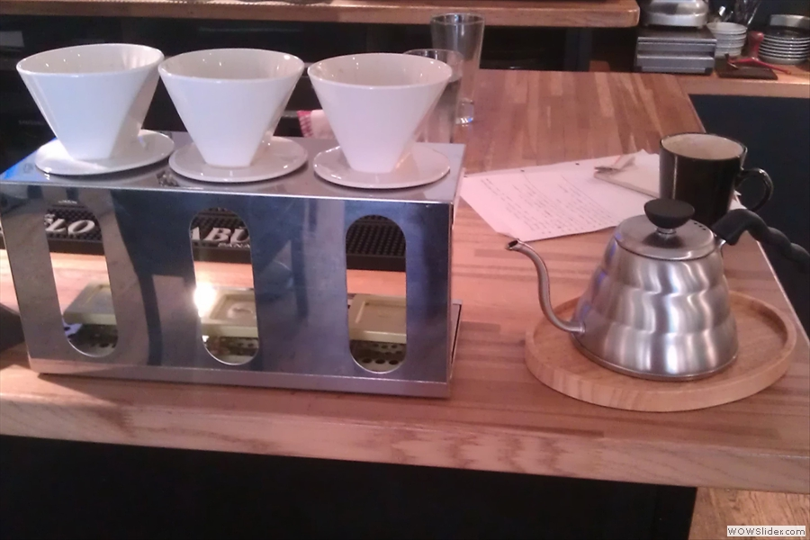 Okay, down to business. The new brew bar, complete with shiny new pouring kettle, took centre stage.