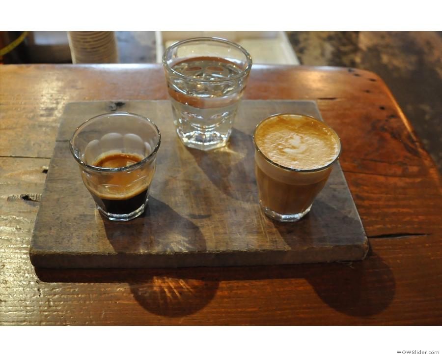 My split shot: an espresso and a piccolo.