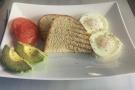 I also had breakfast: poached eggs, avocado, tomatos and sourdough toast.