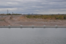 Looking west over the dammed river and along the dry river bed to downtown Phoenix.