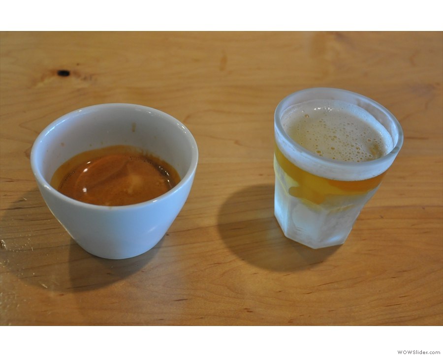 I returned the folllowing day for a shot of the Epic Espresso, with a tea/hops palete cleanser.