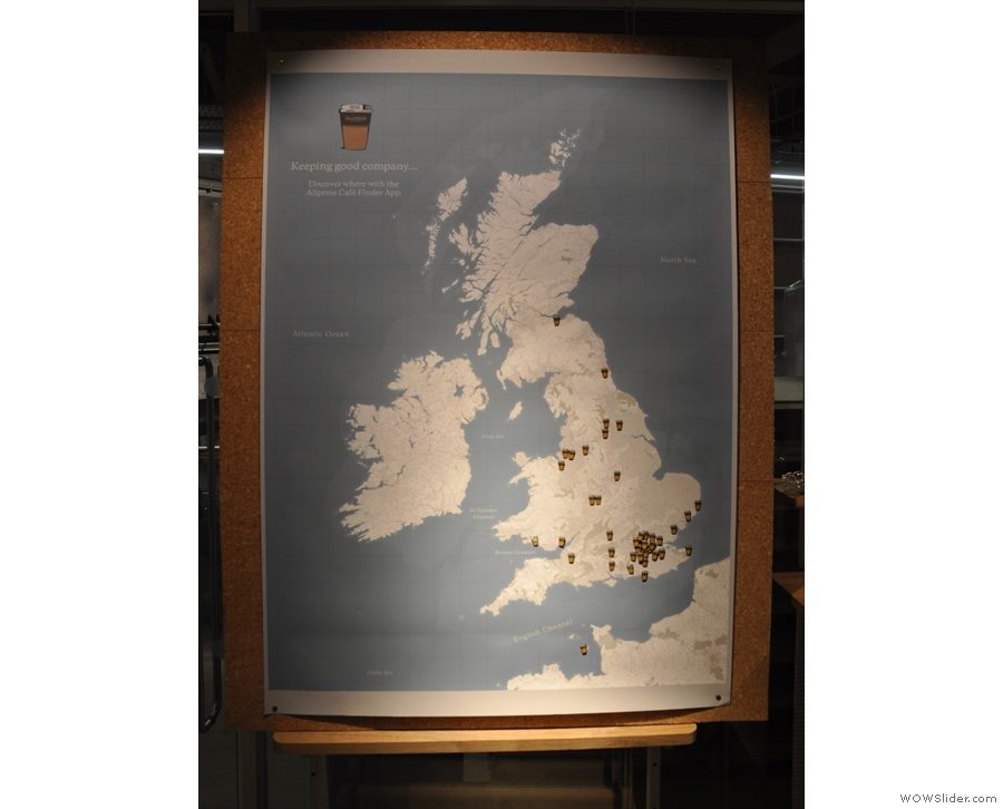 The Allpress map, showiing where in the UK Allpress is served. That's an impressive spread!