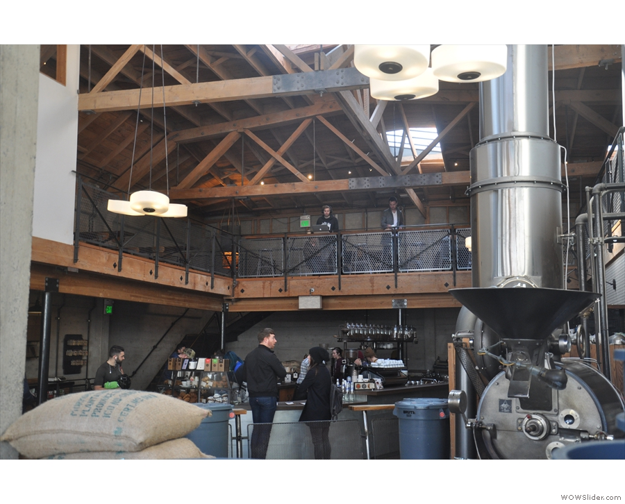 The rest of Sightglass is behind the roastery area.