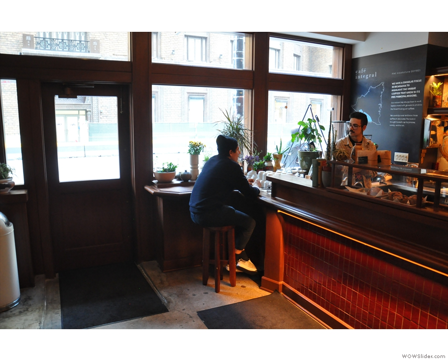 Stepping inside, there's initially not much to Café Integral, just the counter by the window.