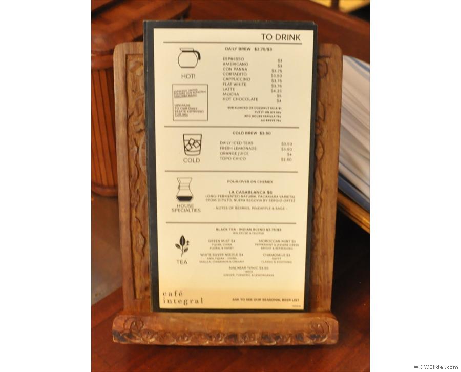 Meanwhile this is the coffee/tea menu...