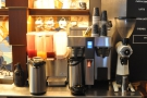 There's the olbigatory bulk-brew coffee at the back of the counter...