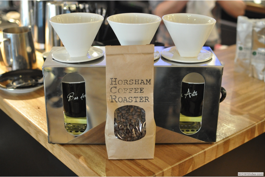 Bar des Arts and Horsham Coffee Roaster, a winning new combination! Arrangement courtesy of the multi-talented Jon.