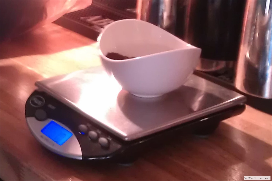 ... which Bradley weighs out ready for the first tasting.