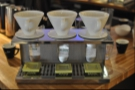 The new brew bar with the three samples Bradley has brought along.
