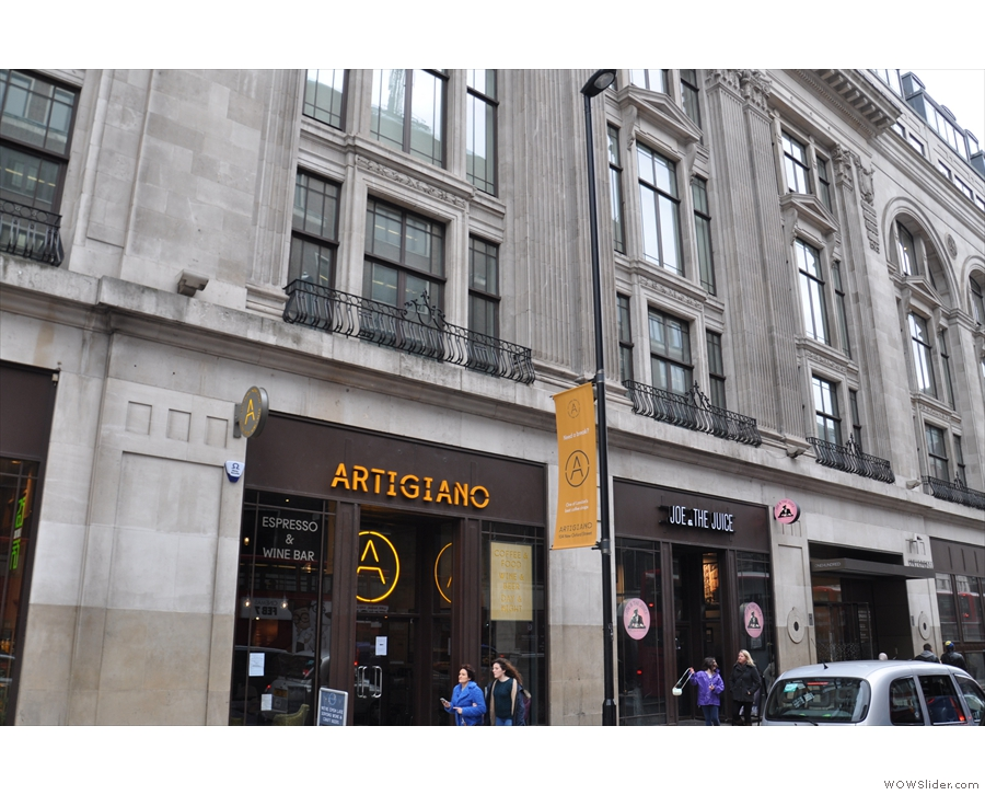Artigiano Espresso on New Oxford Street: look up, the buildings are stunning!