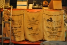Obligatory shot of coffee sacks: this is the green bean storage area to left of the roastery.