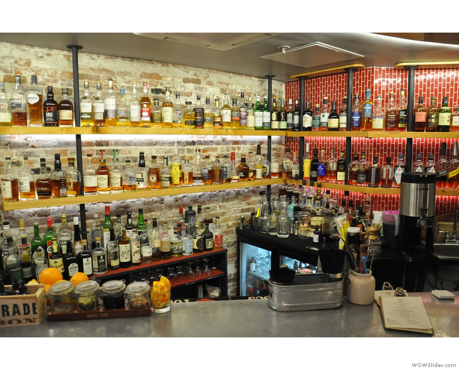 New Harvest Coffee & Spirits: the spirits side, represented by an extremely well-stocked bar.