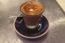 My cortado, made with the house espresso blend...
