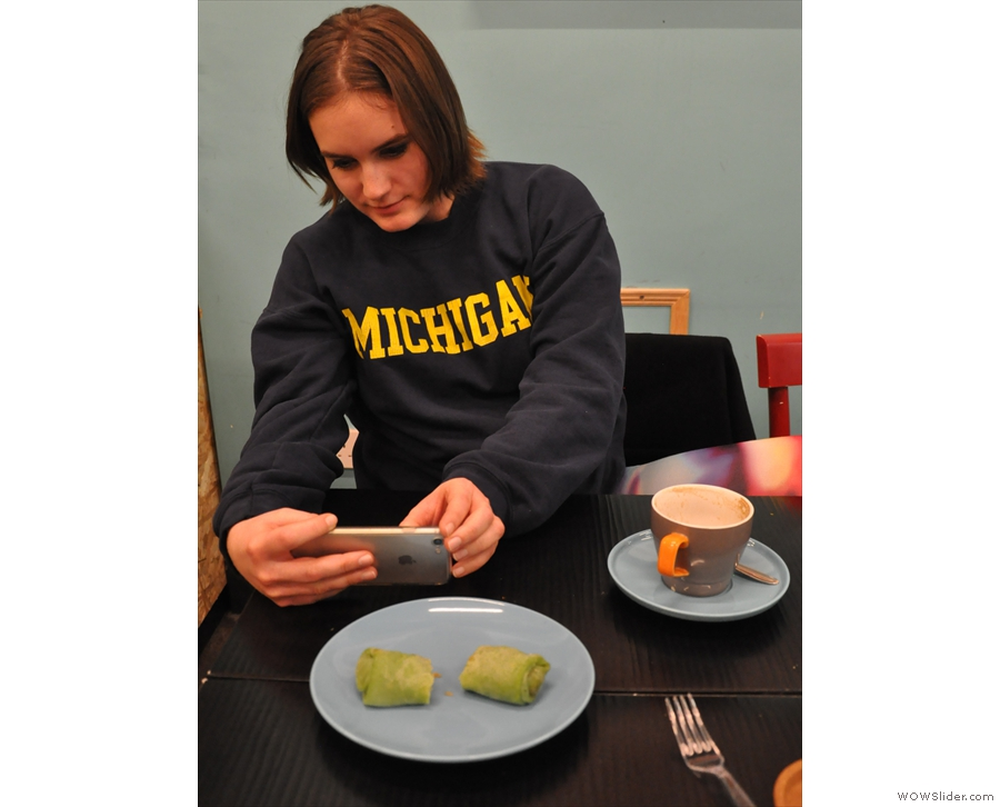 The perils of going for coffee with another blogger: Alexandra takes as many photos as I do!