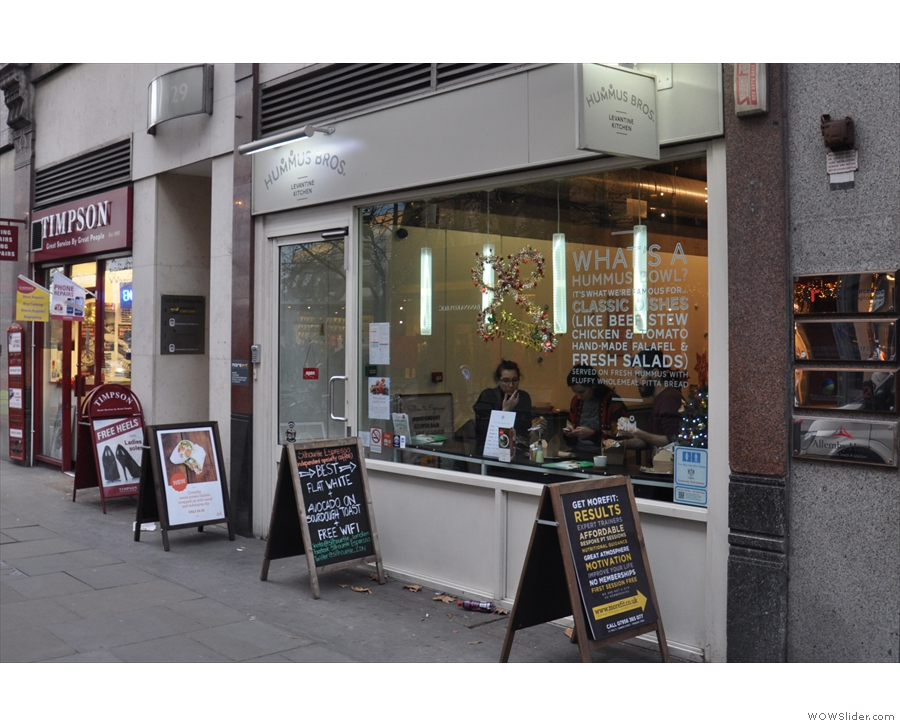 Hummus Bros., on Cheapside, not far from St Paul's Cathedral.