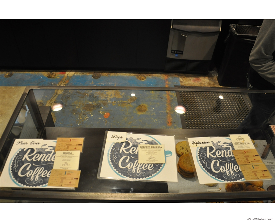 The choice of coffee is laid out on the counter.