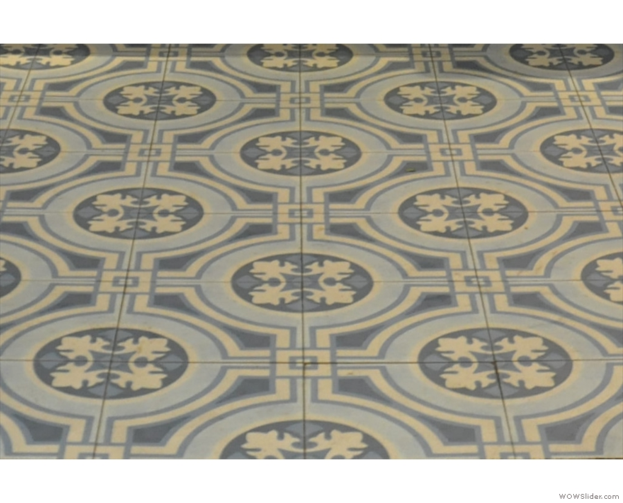It pays to look down as well: these amazing tiles are on the floor next to the counter.