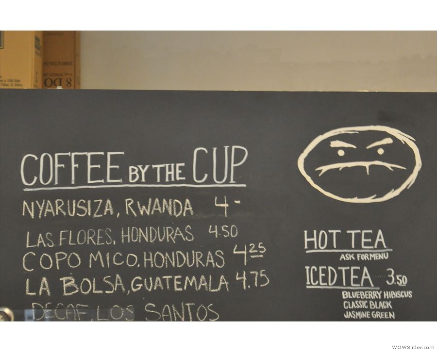 ... while these are the different single-origins, including a decaf, available as pour-over.
