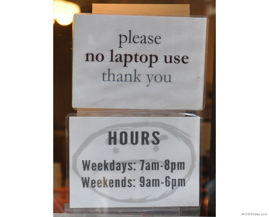Café Grumpy has a policy of no laptops in its cafes. At least it's up front about it.