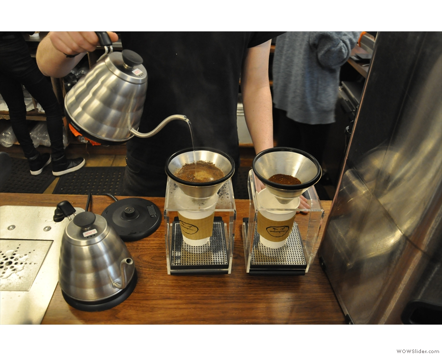 I didn't try the pour-over on this visit. Here are a couple of pour-overs to-go being made.