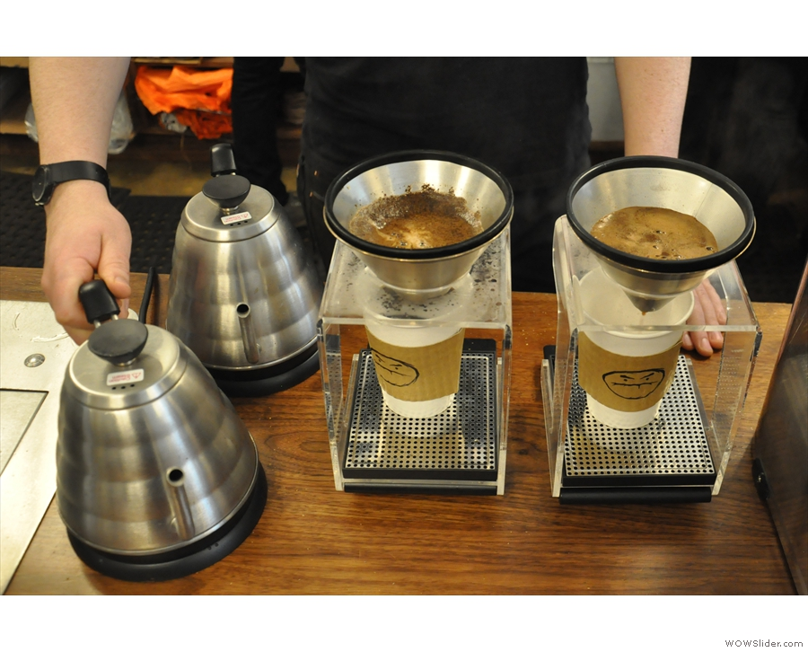 Now we wait. The Kone is similar to the V60, but easier to use according to Café Grumpy.