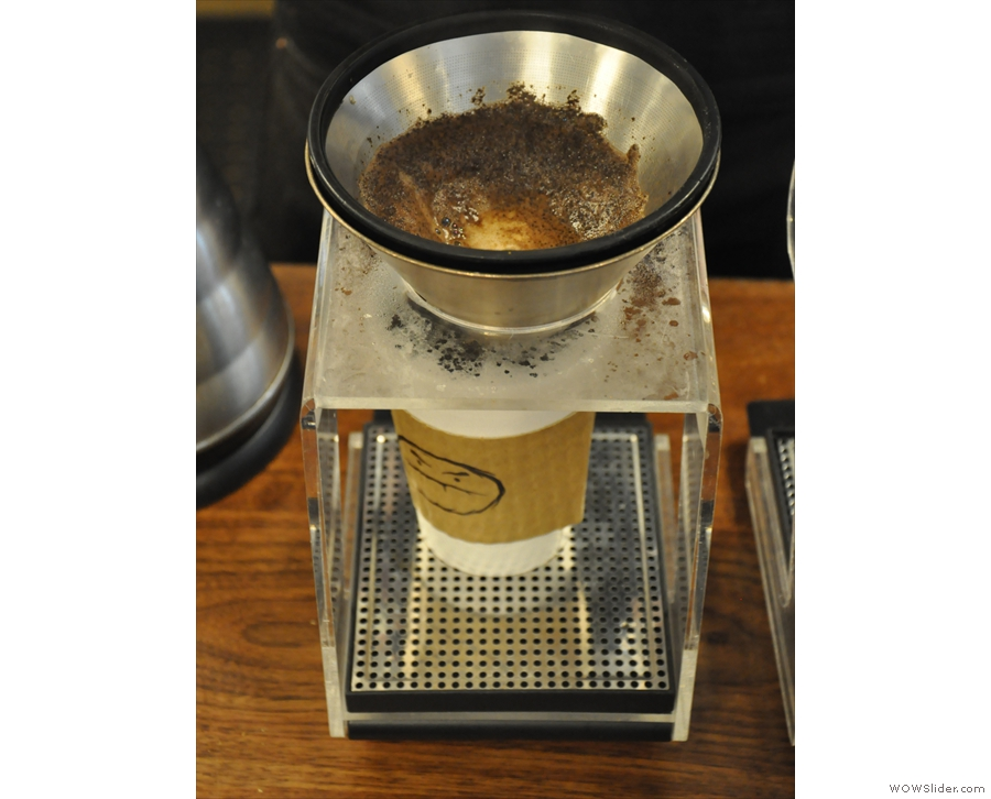 While the second pour-over filters through, the one on the left is almost done.