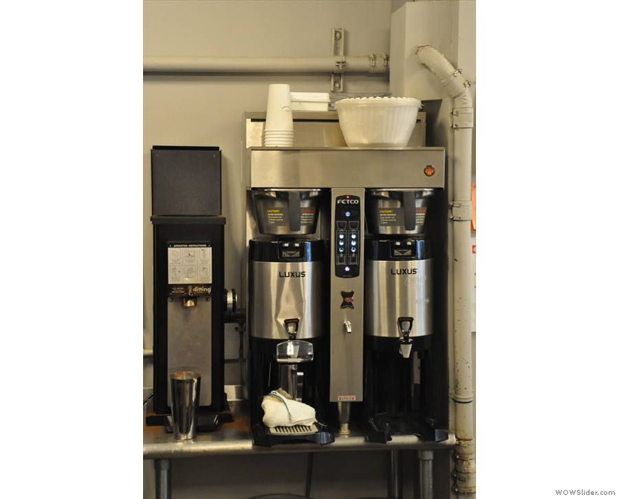 The obligatory bulk-brew filter machines are tucked away behind the counter.