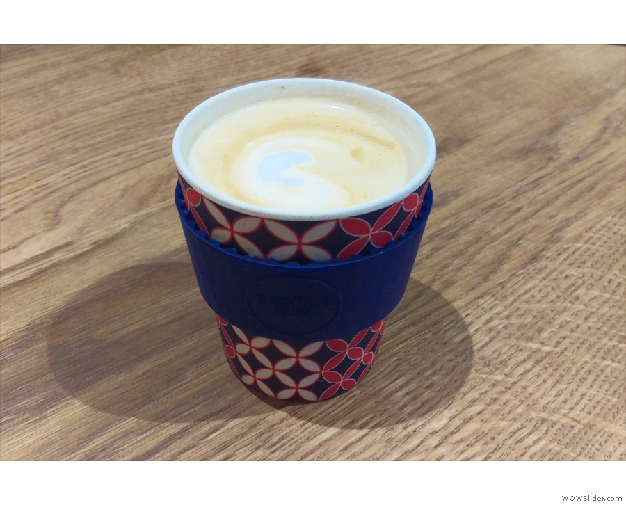 I also had a decaf flat white to go in my eCoffee cup.