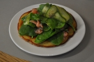 I had the salmon gravlax on a spring onion pancake for lunch.