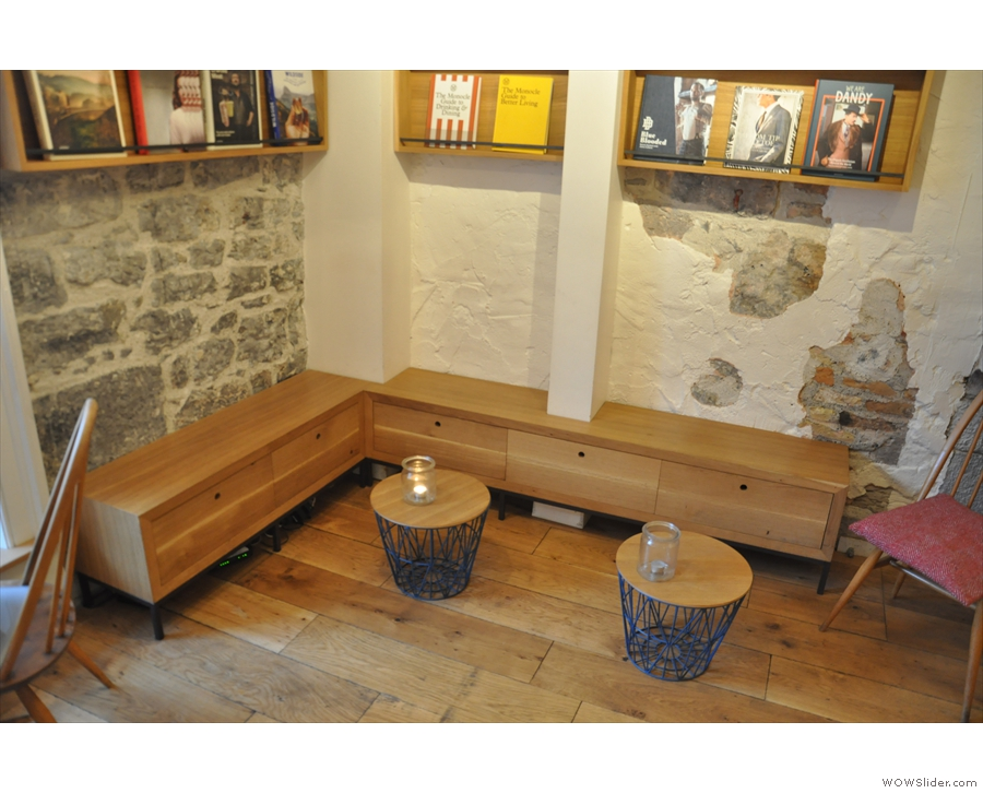 ... or the benches in the corner opposite the stairs.