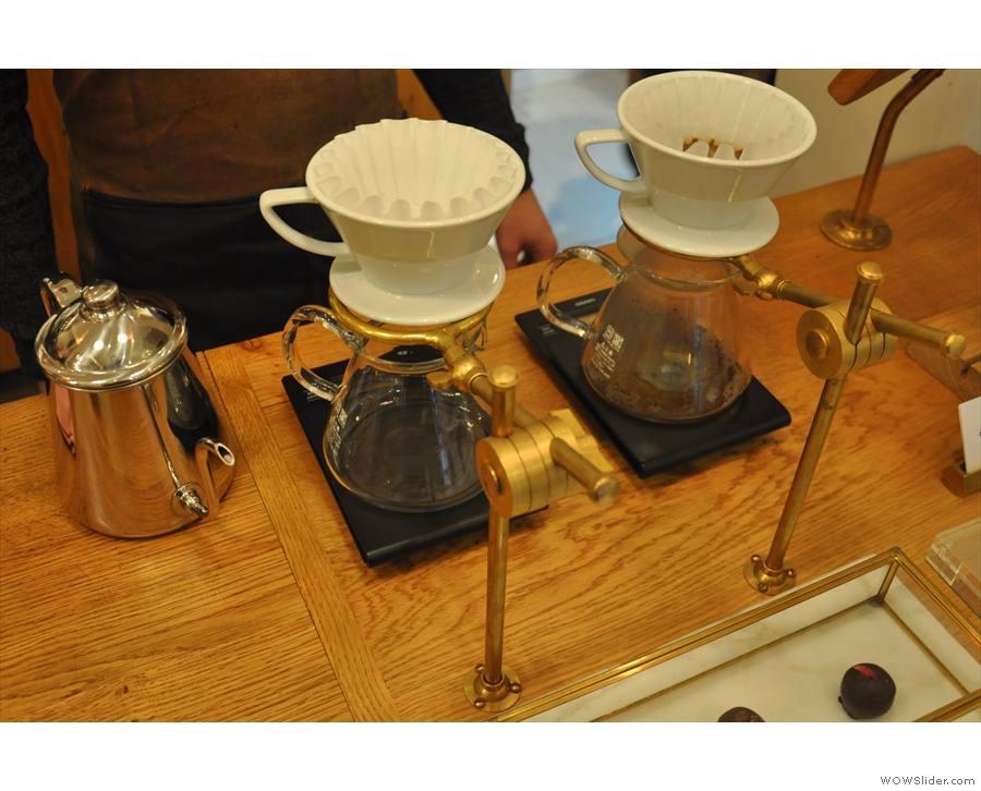 Coffeewerk uses Kalita Wave filters with some awesome filter stands.