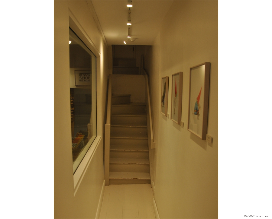 If you want seating, head outside, or take the stairs to the right leading to the upper floors.