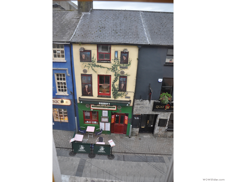 The view out of the window overlooking Quay Street.