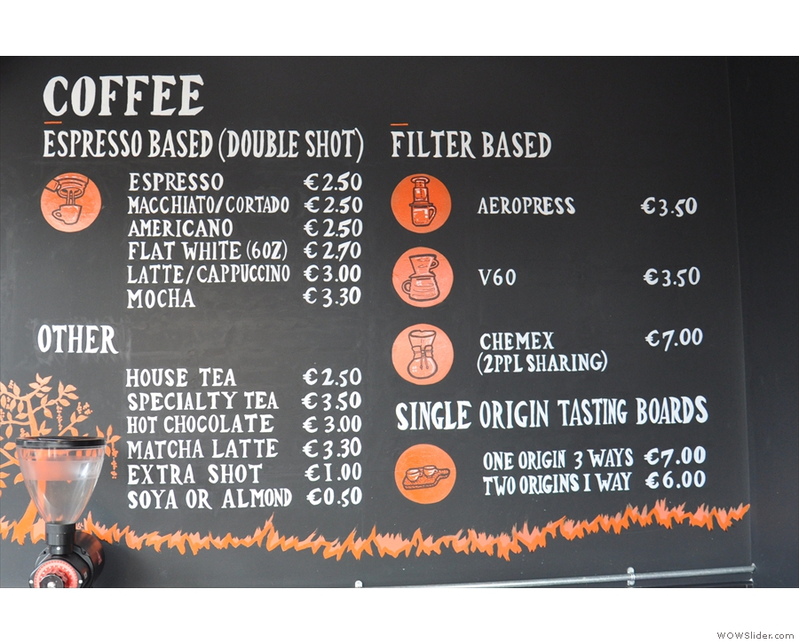 The coffee menu, meanwhile, is on the right-hand side. The tasting boards caught my eye.