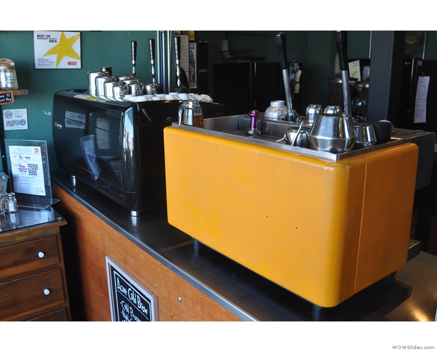 There are two lever espresso machines, one three-group and one two-group.