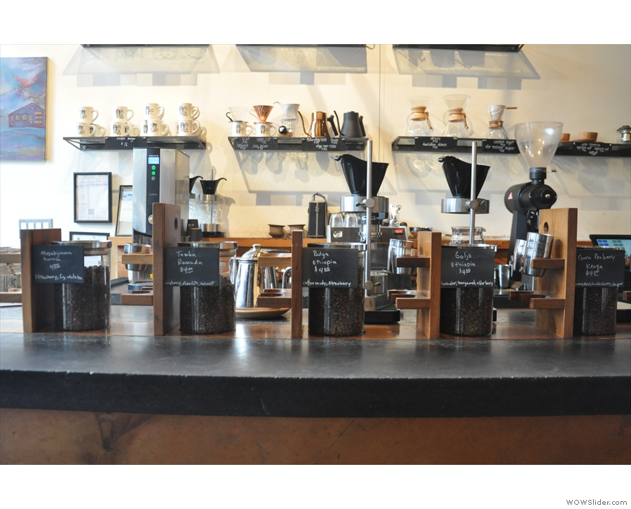 The slow bar has a little silo on the counter for each of the five single-origins on pour-over.