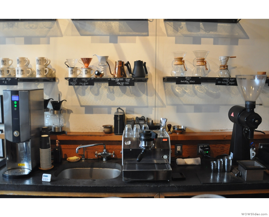 Beyond that, at the back, there's a single-group La Marzocco espresso machine...