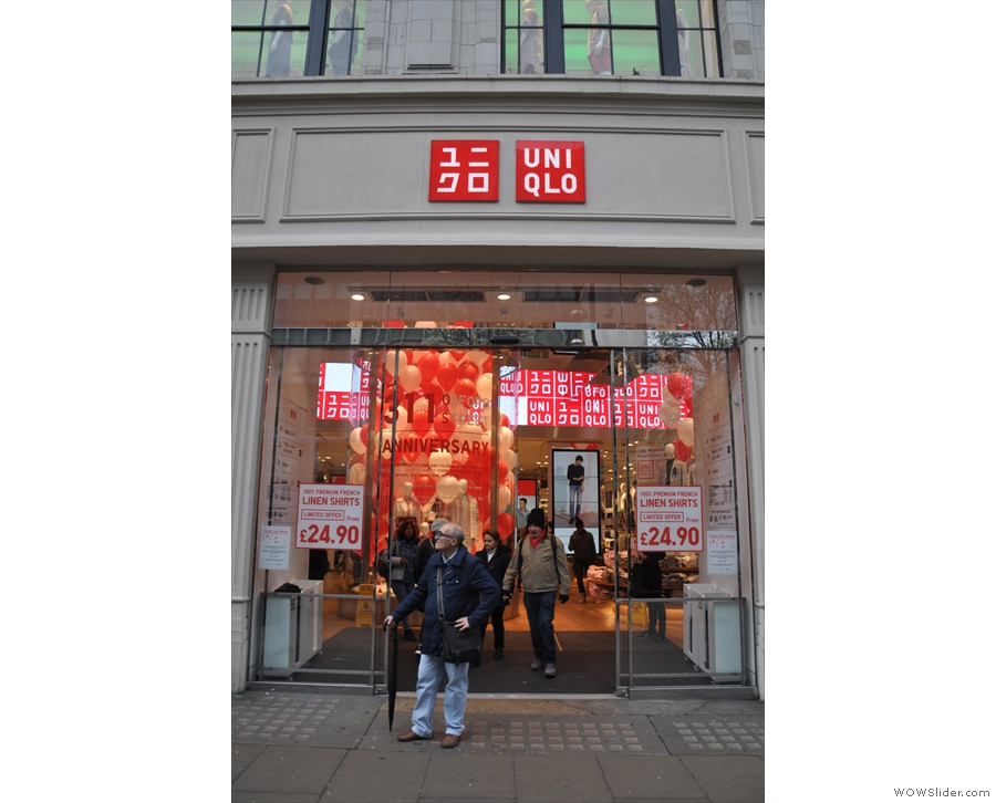 The UniQlo Flagship store on Oxford Street, the unlikely home of Made by Hand Coffee.