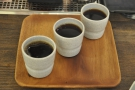 My coffee flight, ready for serving, only I'm staying at the coffee bar...