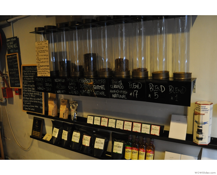 As well as equipment, you can also buy beans. The retail section is to the right as you enter.