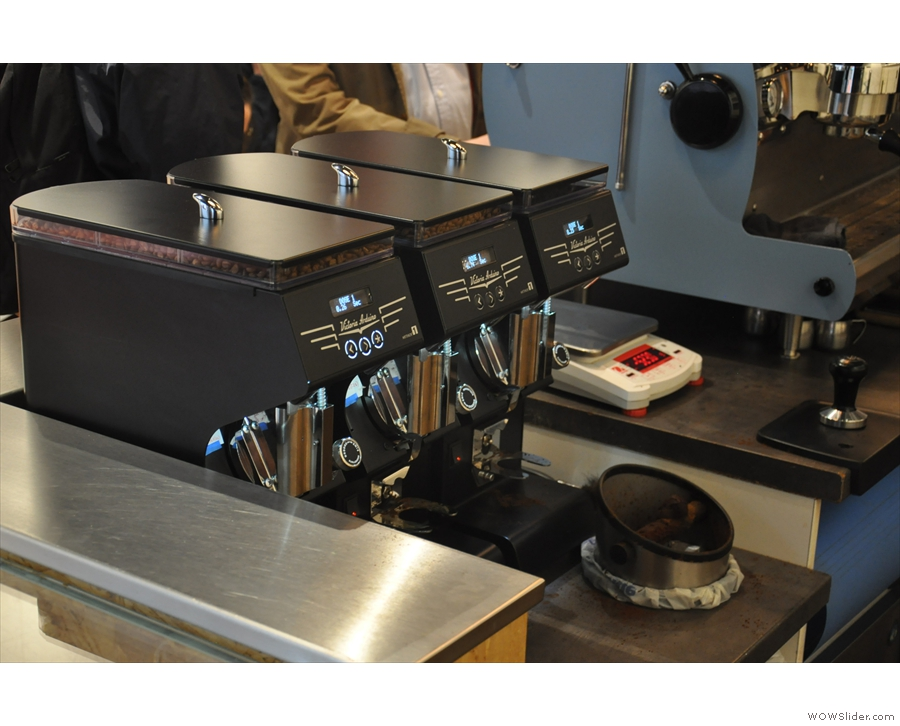 There are three options on espresso, two single-origins, one decaf, each with its own grinder.
