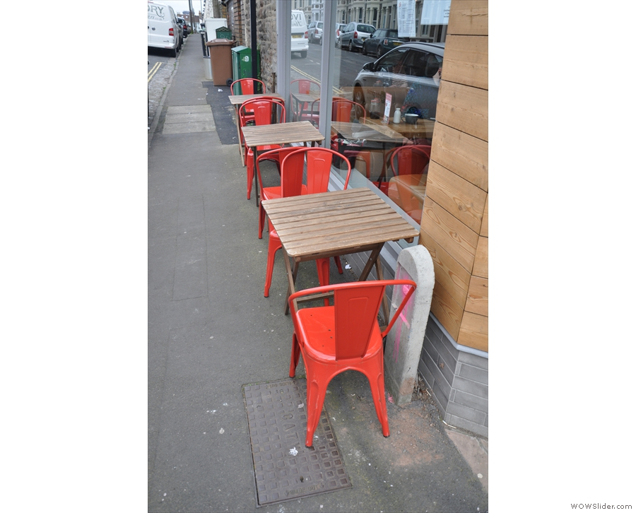 There's plenty of outside seating. These three tables are on the Exeter Road side...