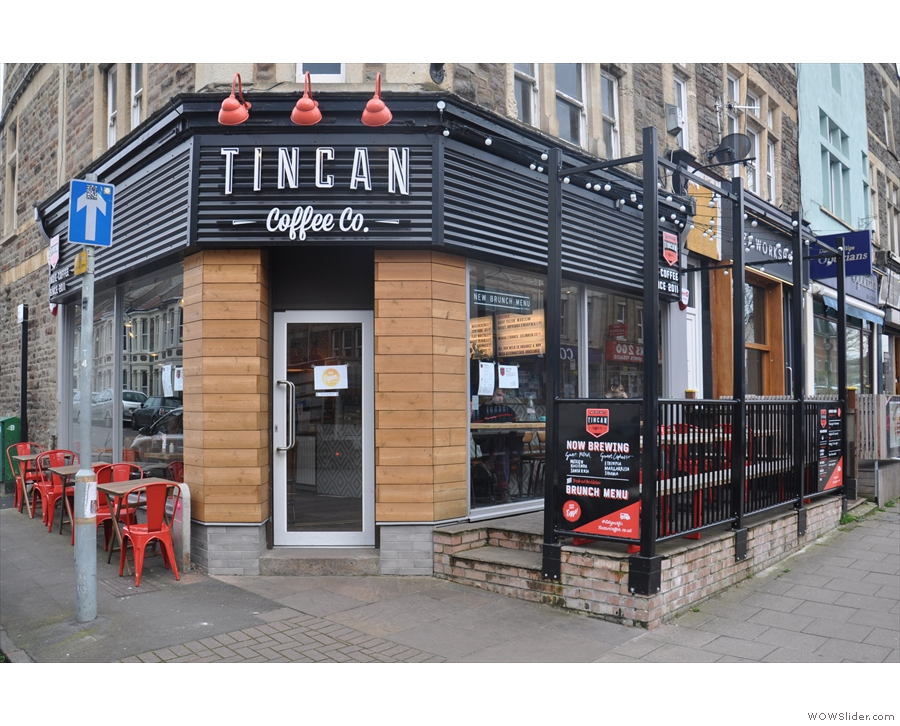 The first bricks-and-mortar Tincan Coffee Co on a sunny corner in south Bristol.