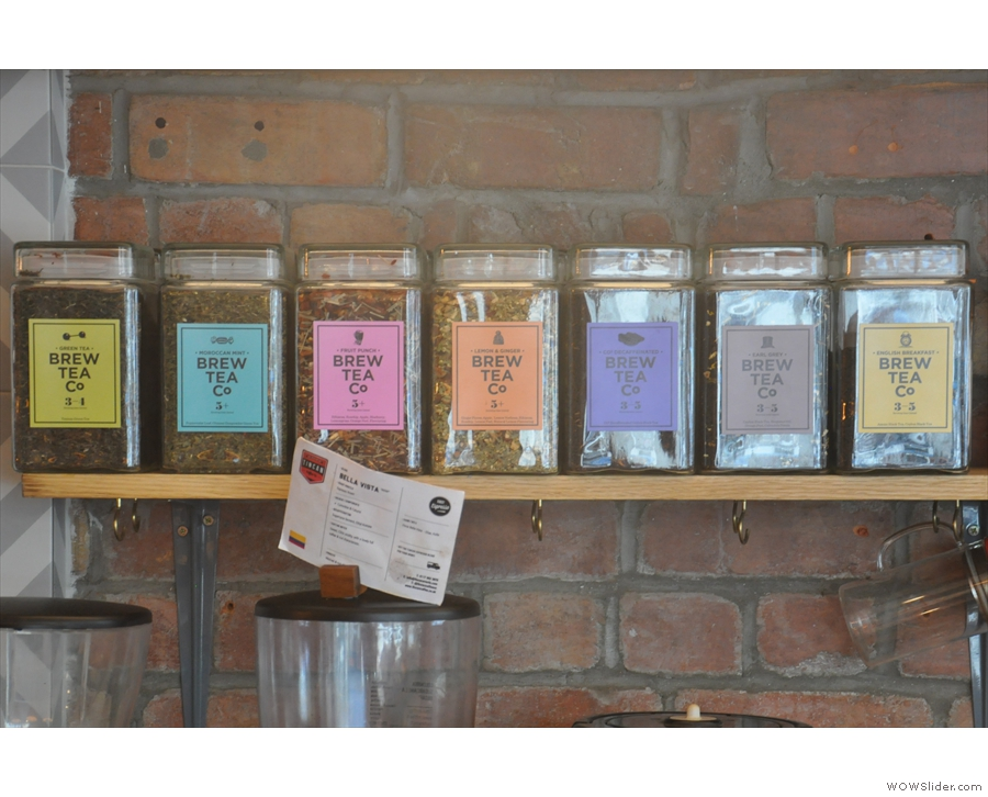 If you don't want coffee, there's tea, from Brew Tea Co.