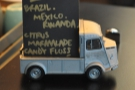 The constituents of the blend and tasting notes are on a little board on a model van.